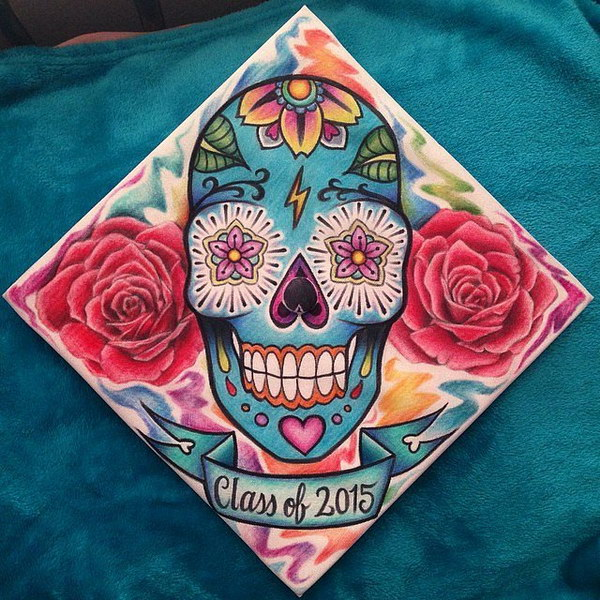 Artist Skull Graduation Cap