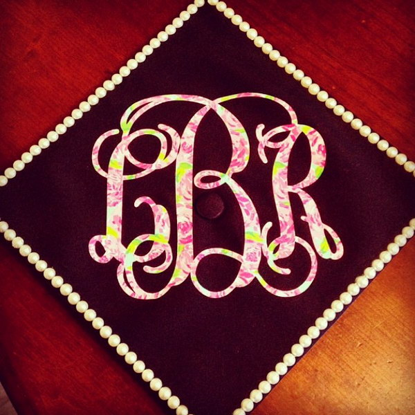 Lilly Monogram Decorated Grad Cap
