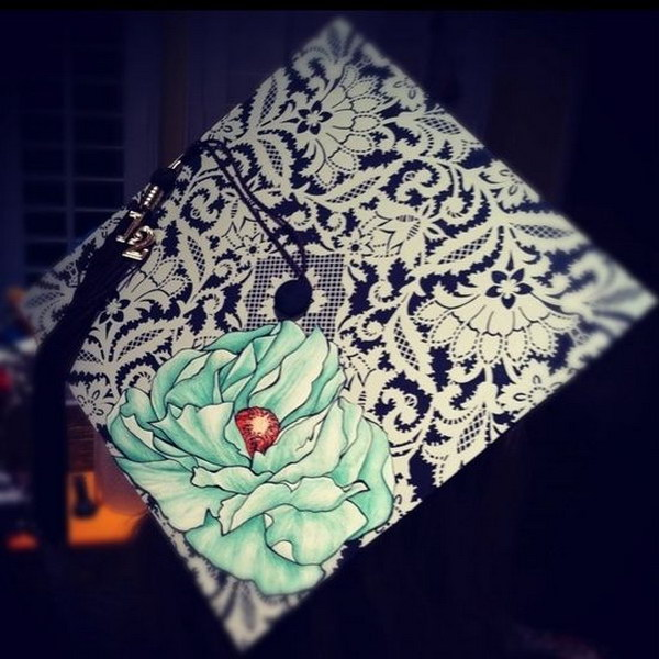 Artistic Flower Graduation Cap