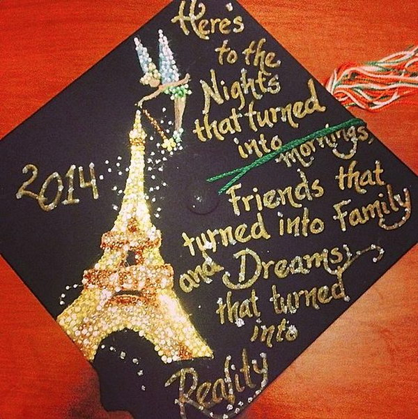 Disney Tinkerbell Paris Decorated Graduation Cap