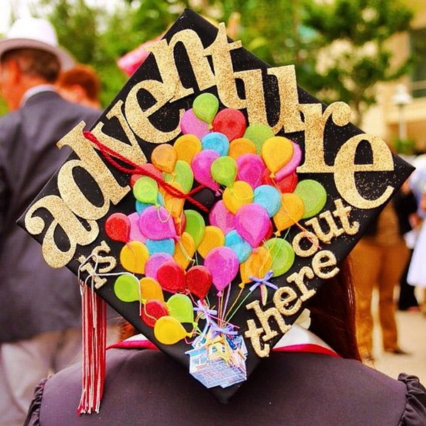 up themed graduation cap decorating - Graduation Caps Decorated