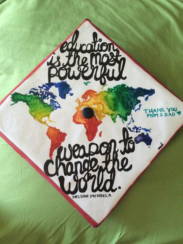 world map graduation cap - Graduation Caps Decorated