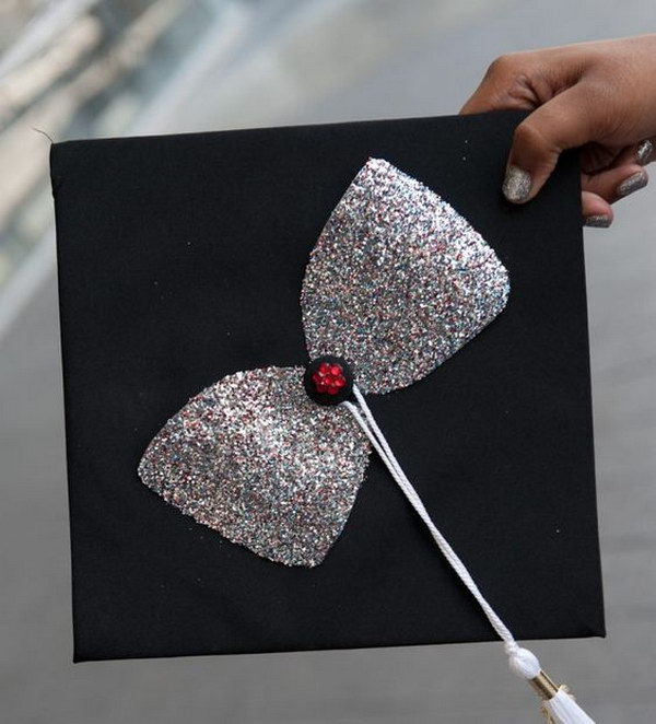 Simple Elegant Glittered Bow Decorated Graduation Cap