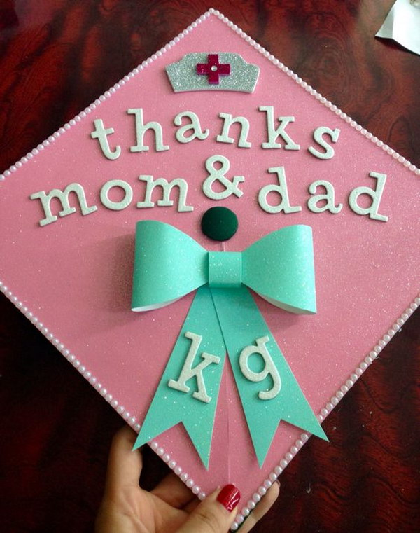 Thanks Mom & Dad Nursing Grad Cap.