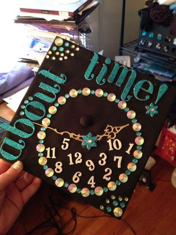 Clock Themed Graduation Cap
