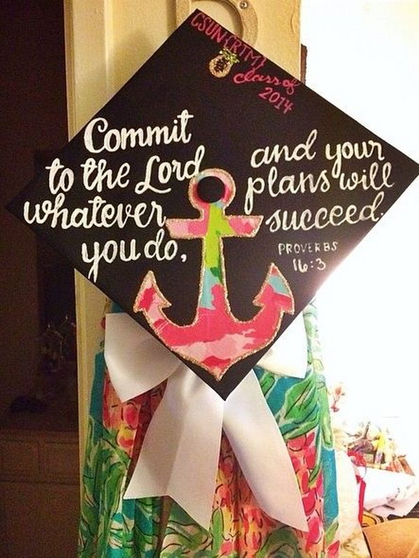 Anchor And Handwritten Quotes Graduation Cap
