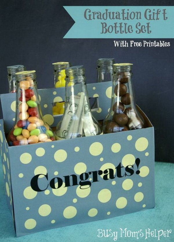 Graduation Gift Bottle Set with Free Printables.