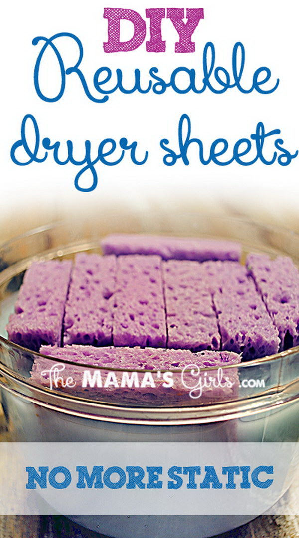 DIY Reusable Sponge Dryer Sheets with Fabric Softener.