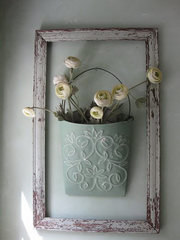 Diy Shabby : DIY Shabby Chic Framed Flower Bucket