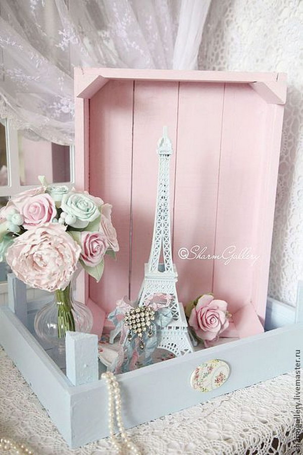Shabby Blue And Pink Wooden Boxes