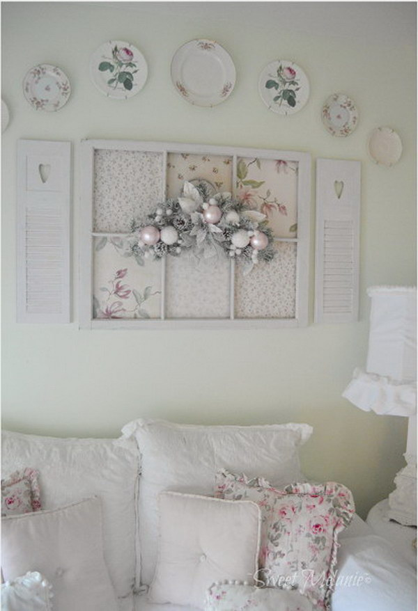 Wall Decor Shabby Chic : Shabby chic victorian fan decorated wall from
