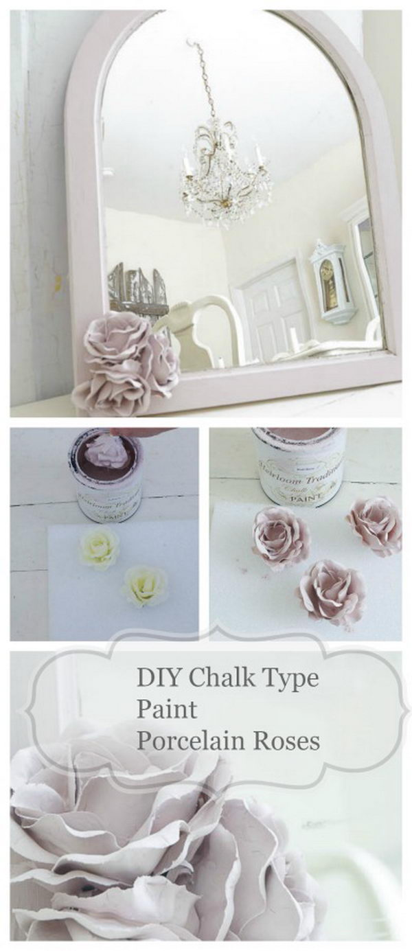Diy shabby chic home decor - Diy Chalk Type Paint Porcelain Roses Decorated Mirror