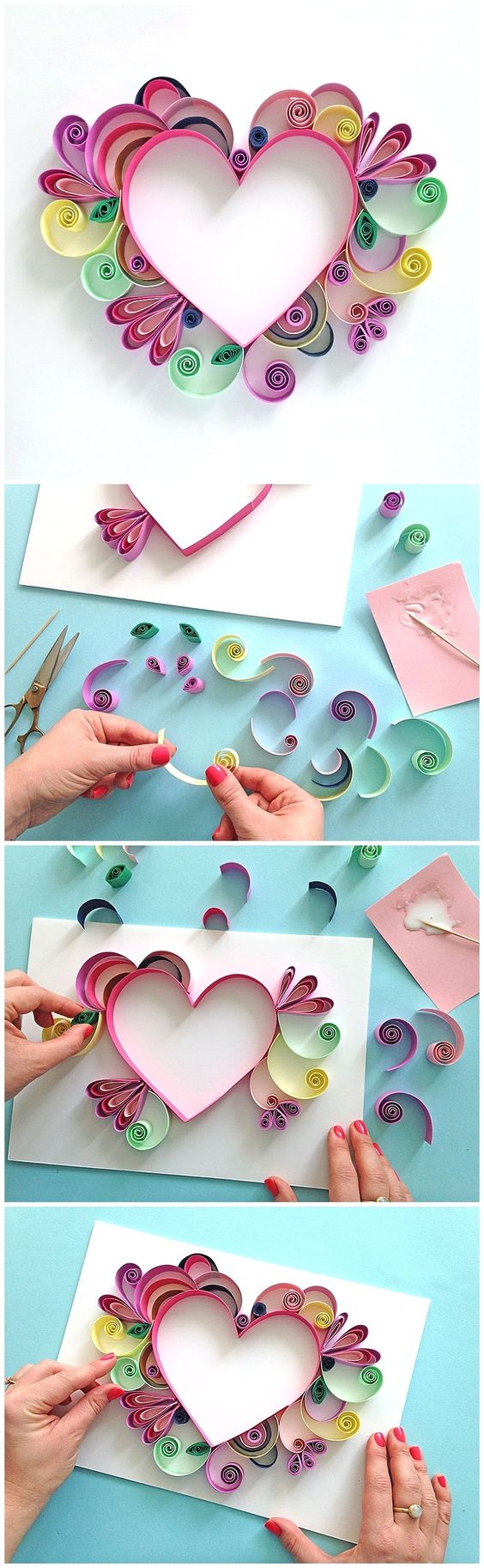 Heart Shaped Quilling Paper Craft