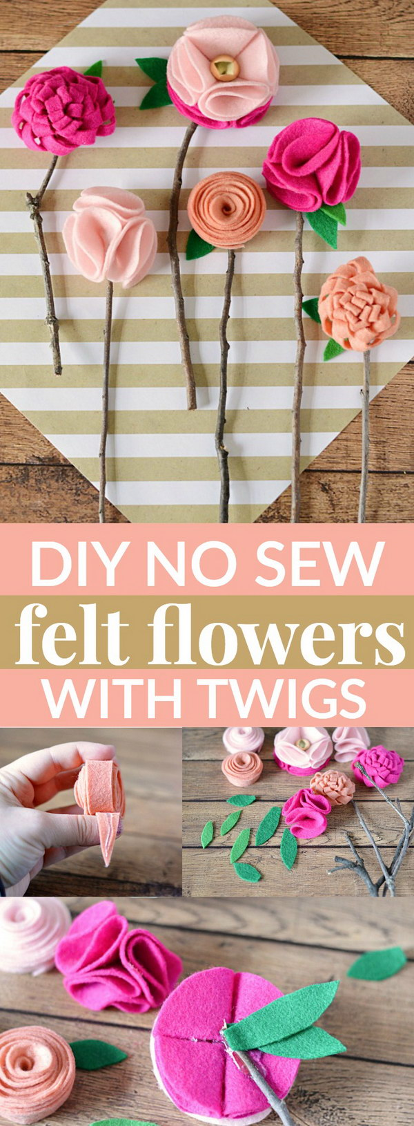 DIY No Sew Felt Flowers With Twigs For Decoration