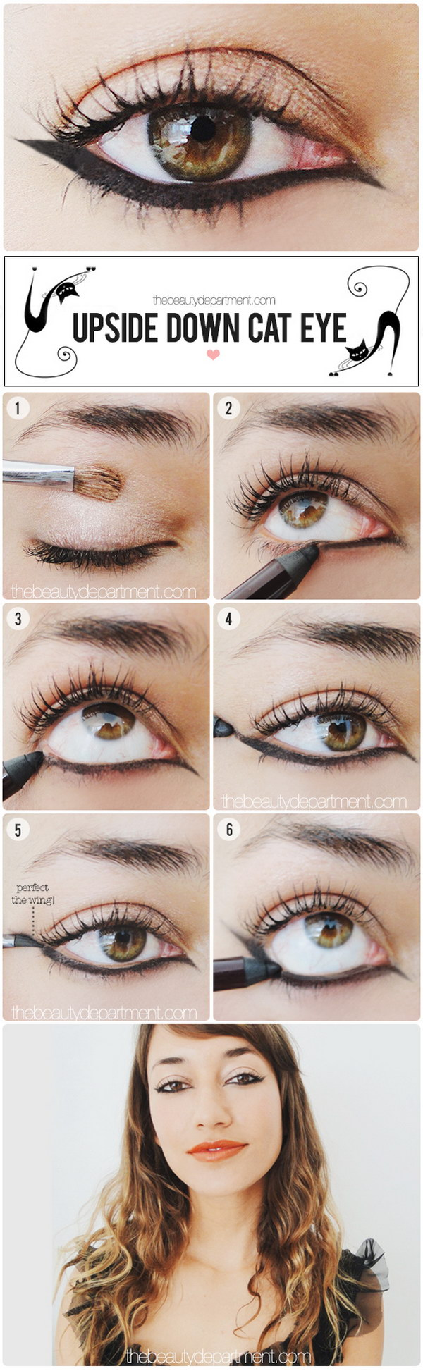 Upside down cat eye makeup.