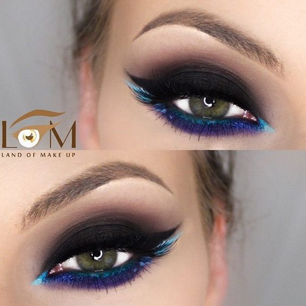 Use different colors for eyeliner instead of black.