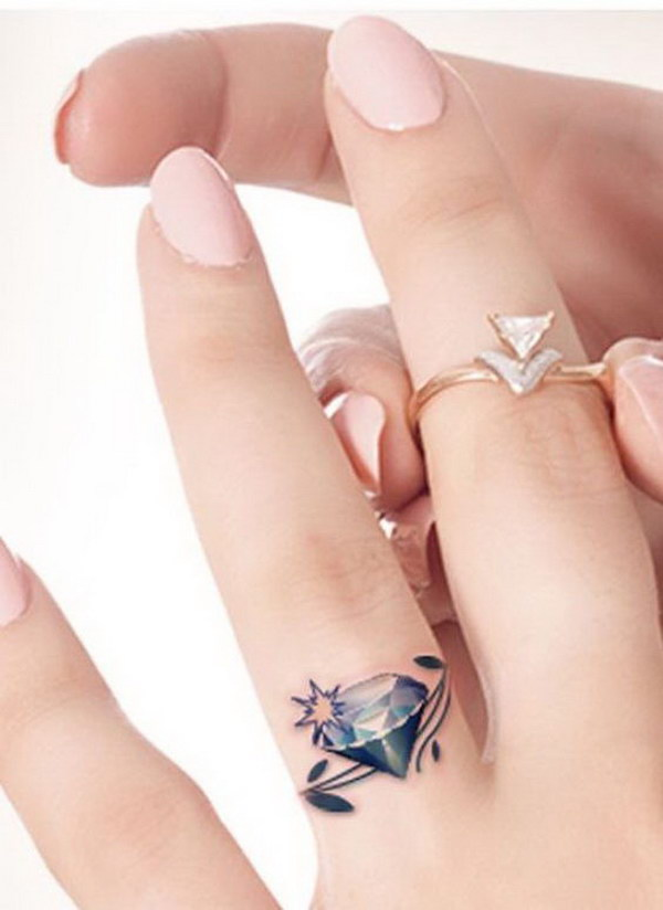 gorgeous diamond wedding ring tattoo