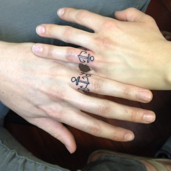 Matching Anchor Tattoos For Couples.