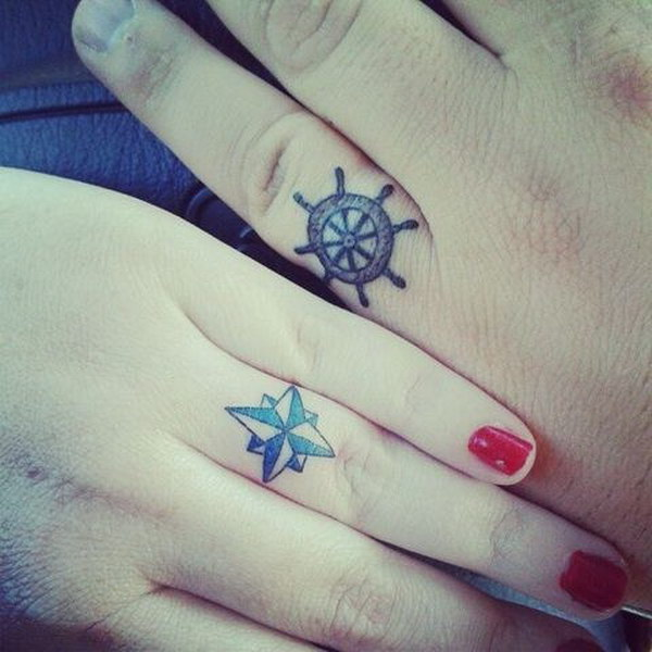 Nautical Wedding Ring Tattoos.