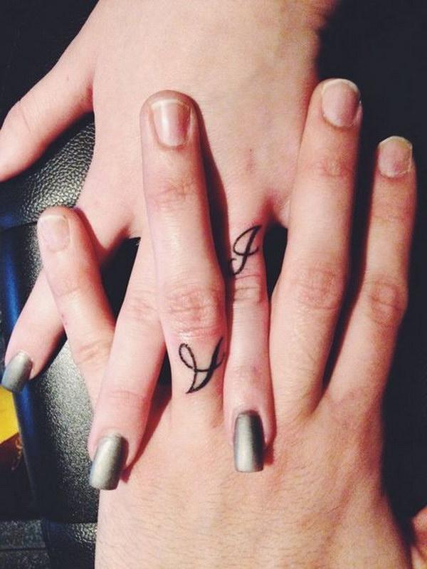 Cute Initial Finger Tattoo.