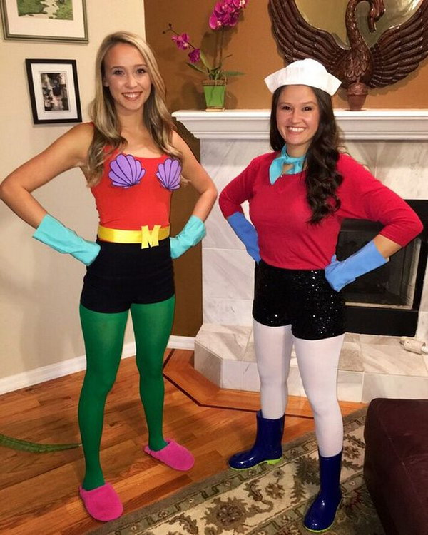 DIY Mermaid Man and Barnacle Boy Halloween Costume.