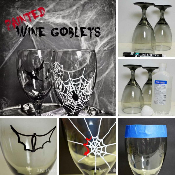 Painted Halloween Goblets   Easy to Paint Wine Glasses Using Paint Pens.