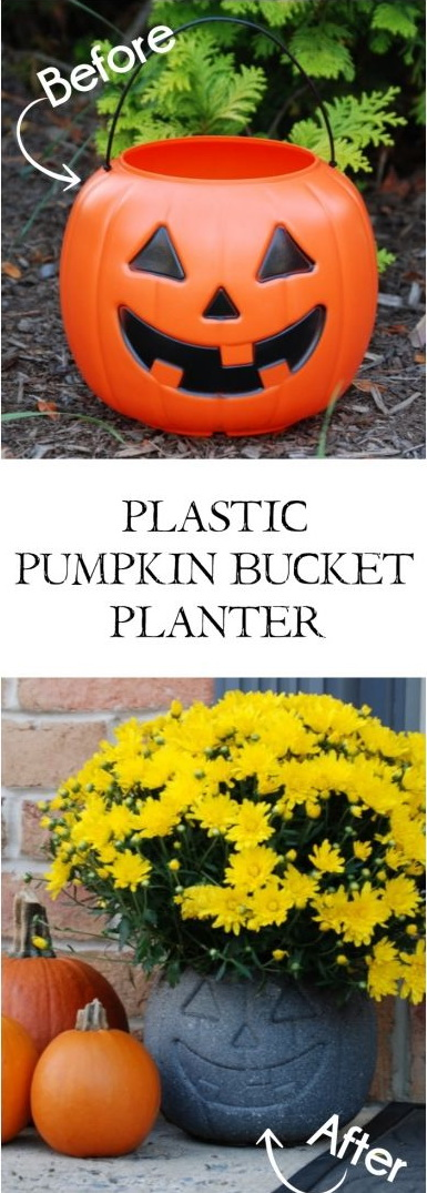 Turn a $1 Plastic Pumpkin Bucket into an Awesome Stone Look Planter with Just Some Specialty Spray Paint.