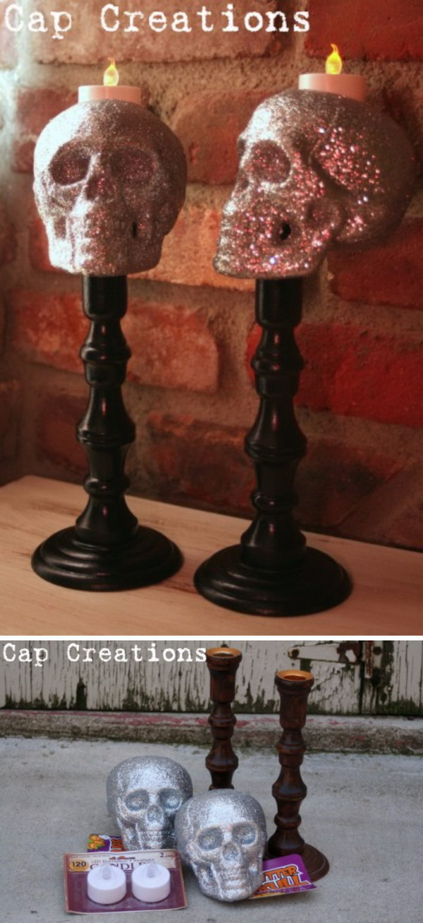 DIY Skull Candlesticks.