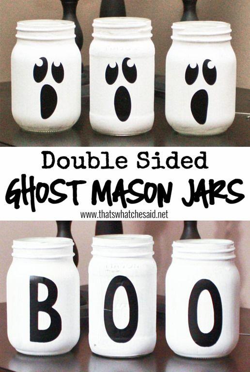 Double Sided Ghost Mason Jars.
