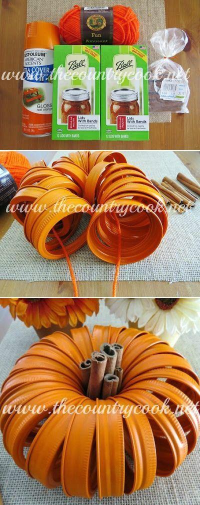 DIY Mason Jar Lid Pumpkins.