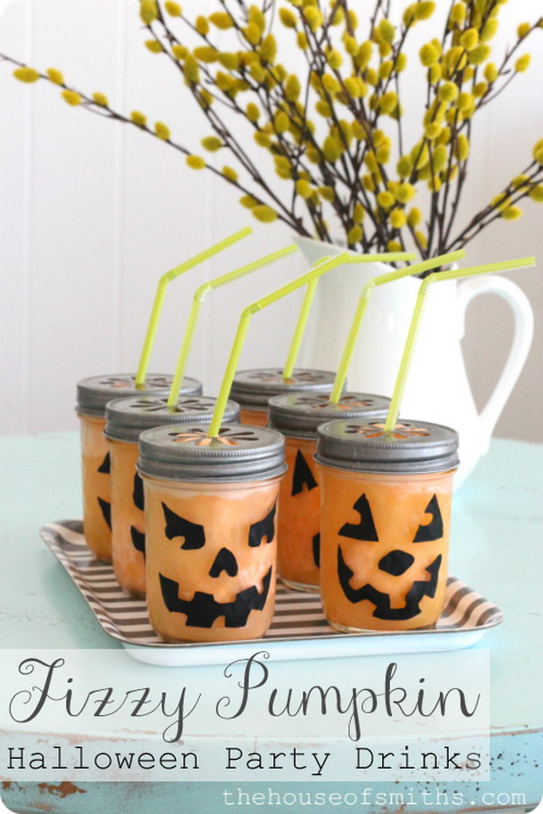 DIY Pumpkin Halloween Party Drinks.