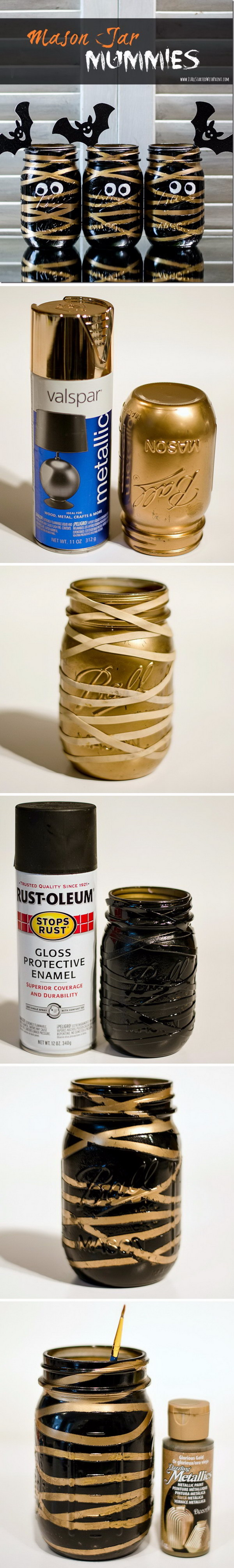 Painted Mummy and Bat Mason Jars.