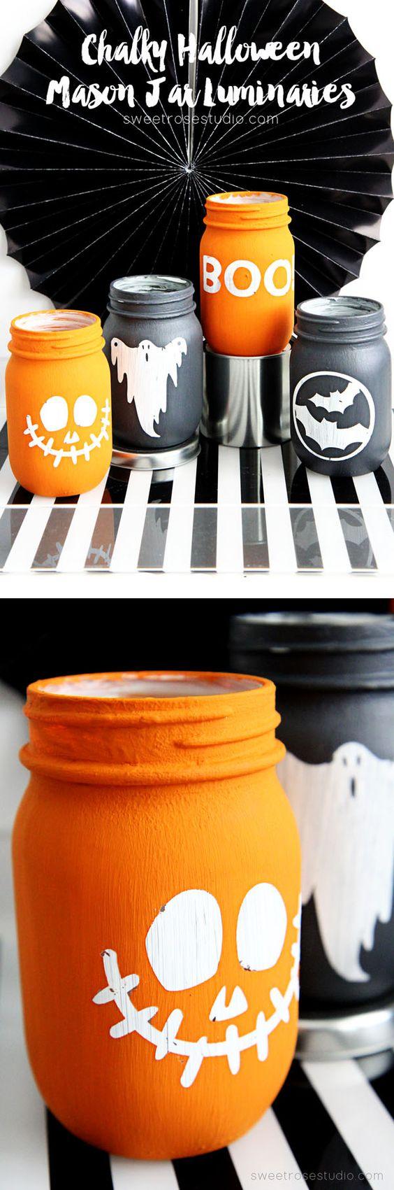Chalky Halloween Mason Jar Luminaries .
