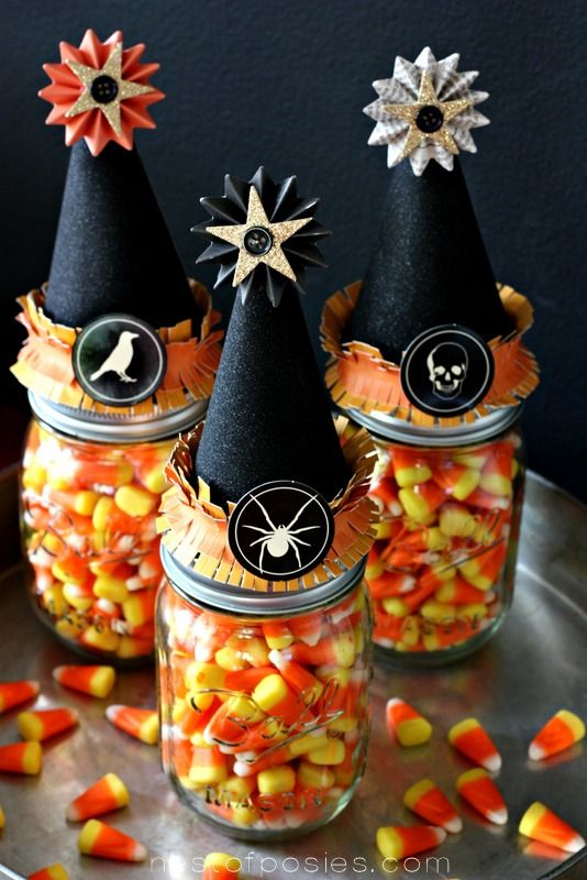 Halloween Treats in Witches' Mason Jars.