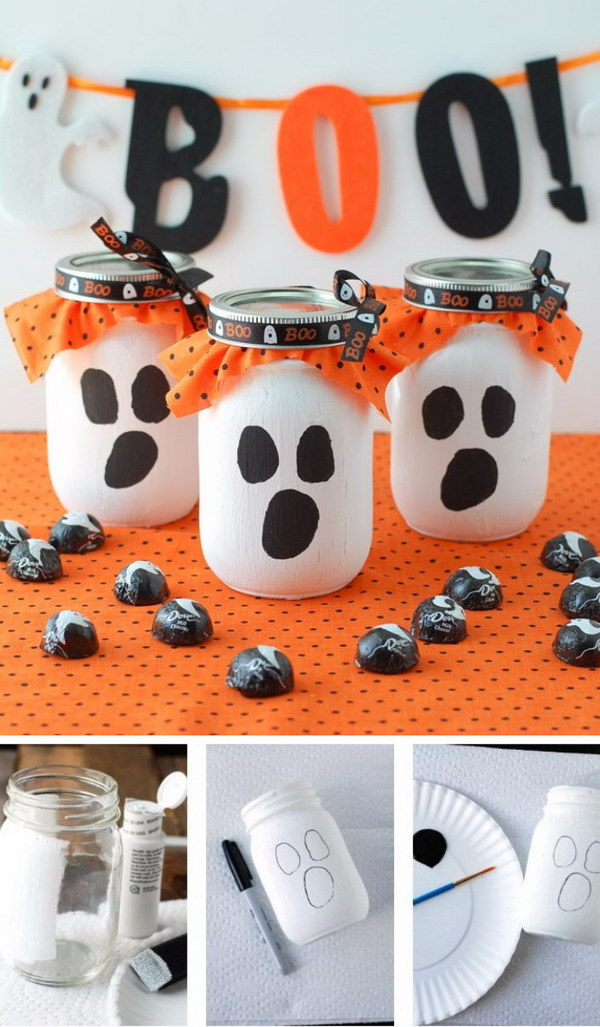 Mason Jar Ghost Candy Gift.