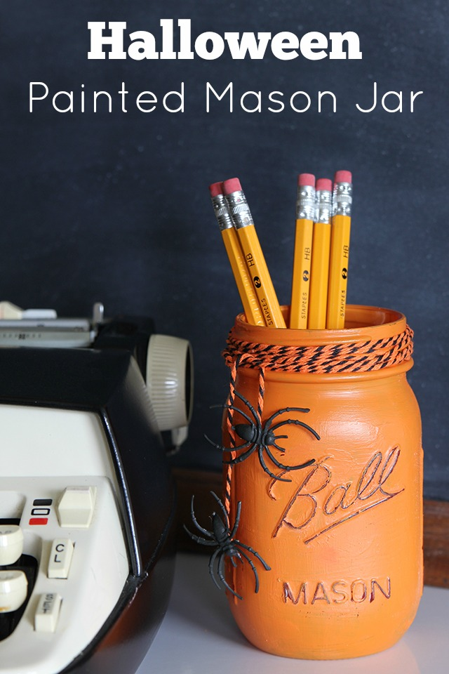 Painted Mason Jar for Halloween.
