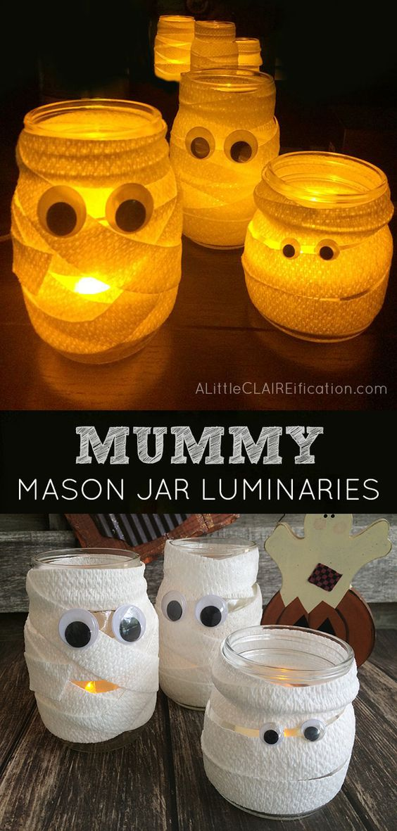 Mummy Mason Jar Luminaries .