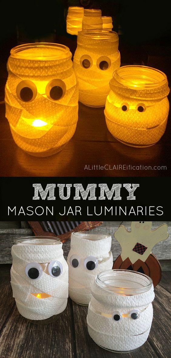 Mummy Mason Jar Luminaries .