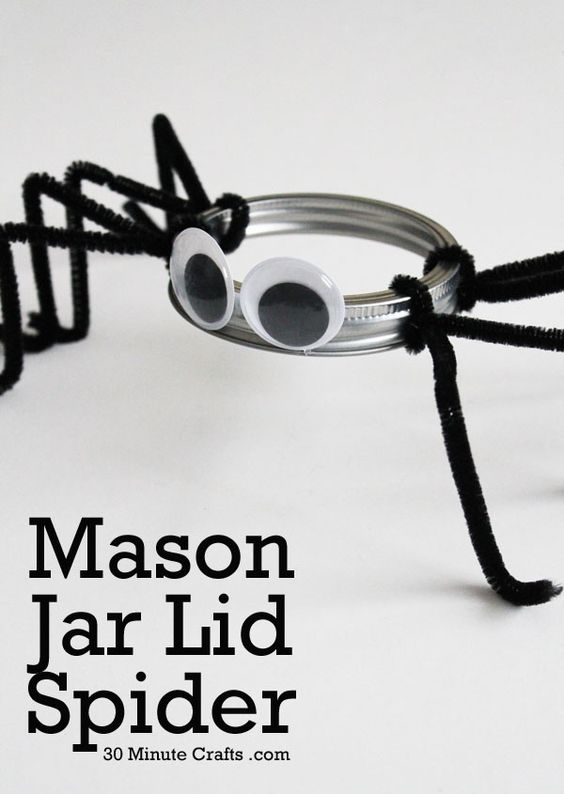 DIY Mason Jar Lid Spider.