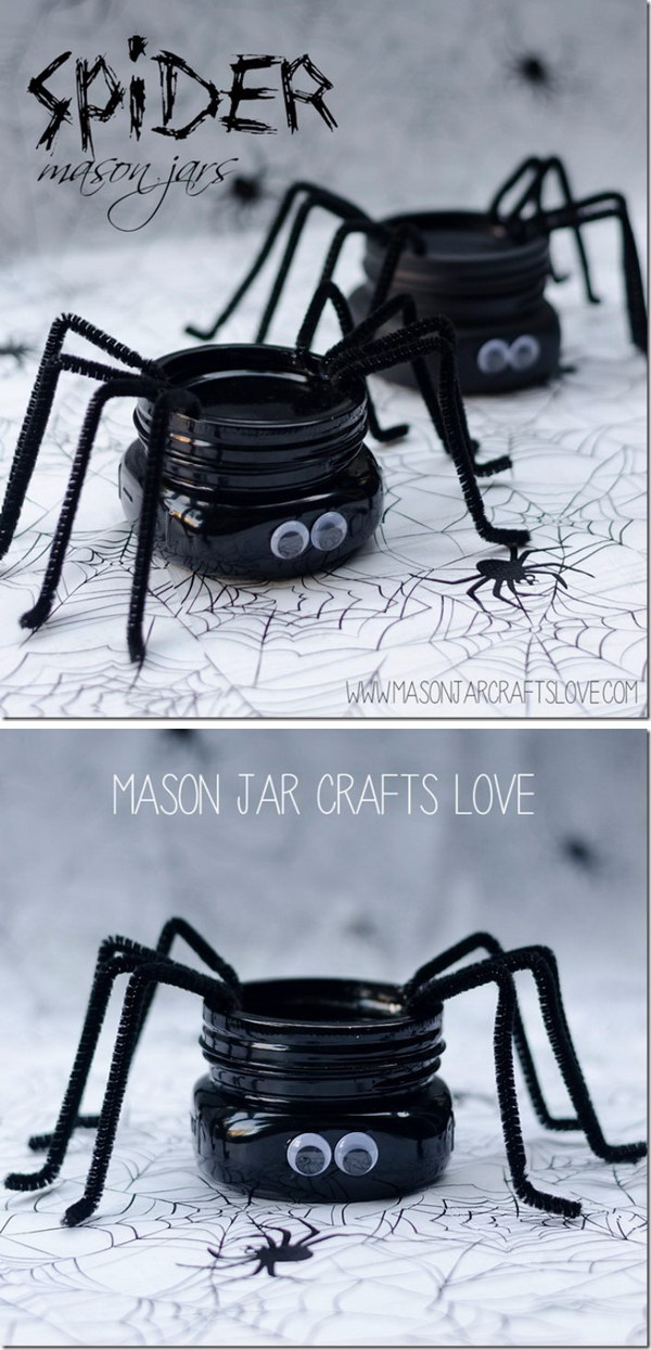 DIY Spider Mason Jars.