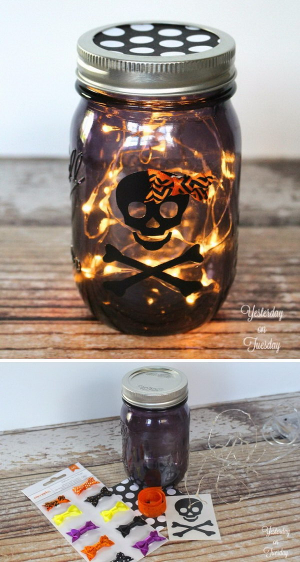DIY Lighted Halloween Mason Jar.