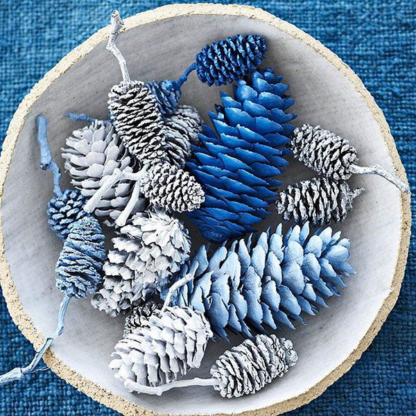 Silver and Blue Pinecones