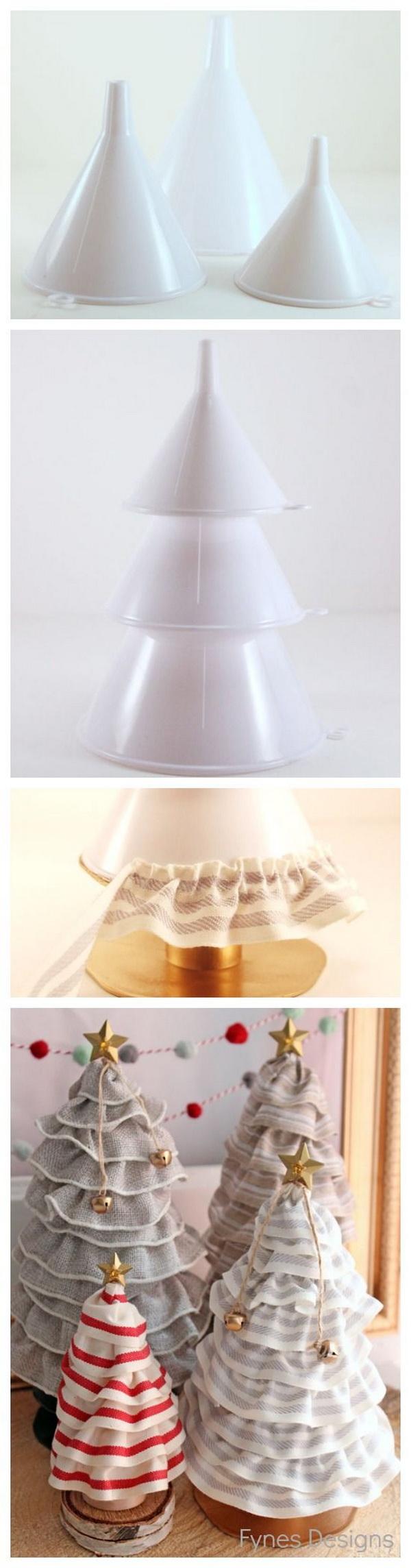 DIY No sew Ruffle Ribbon Christmas Tree Cones