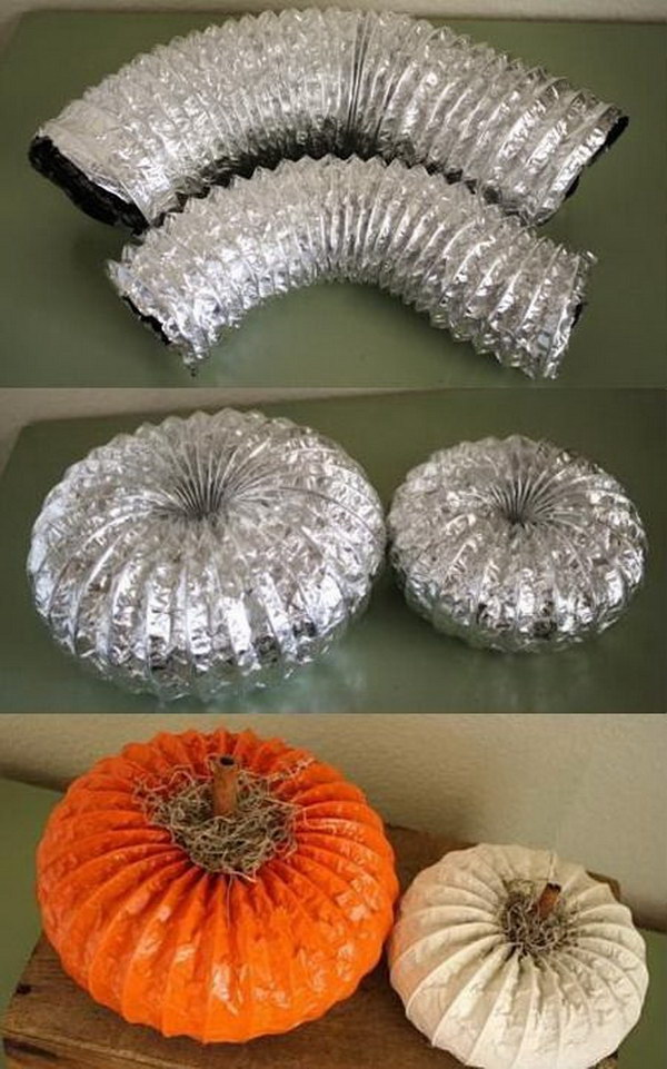 DIY Dryer Vent Pumpkins.