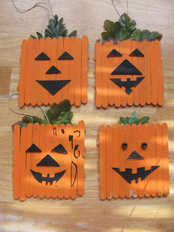 Popsicle Stick Pumpkins.