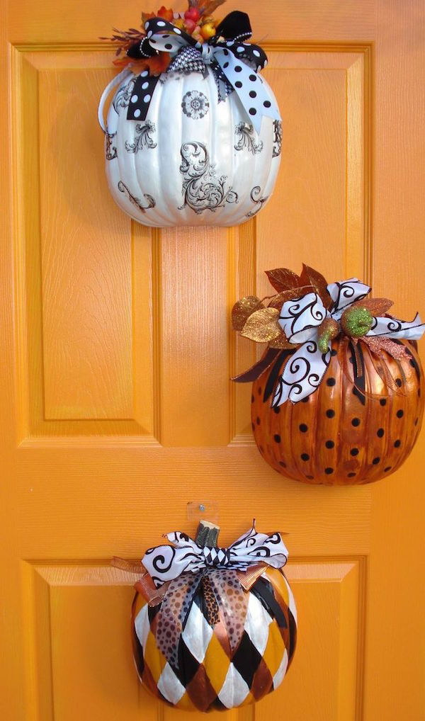 Front Door Fake Pumpkin Decor.