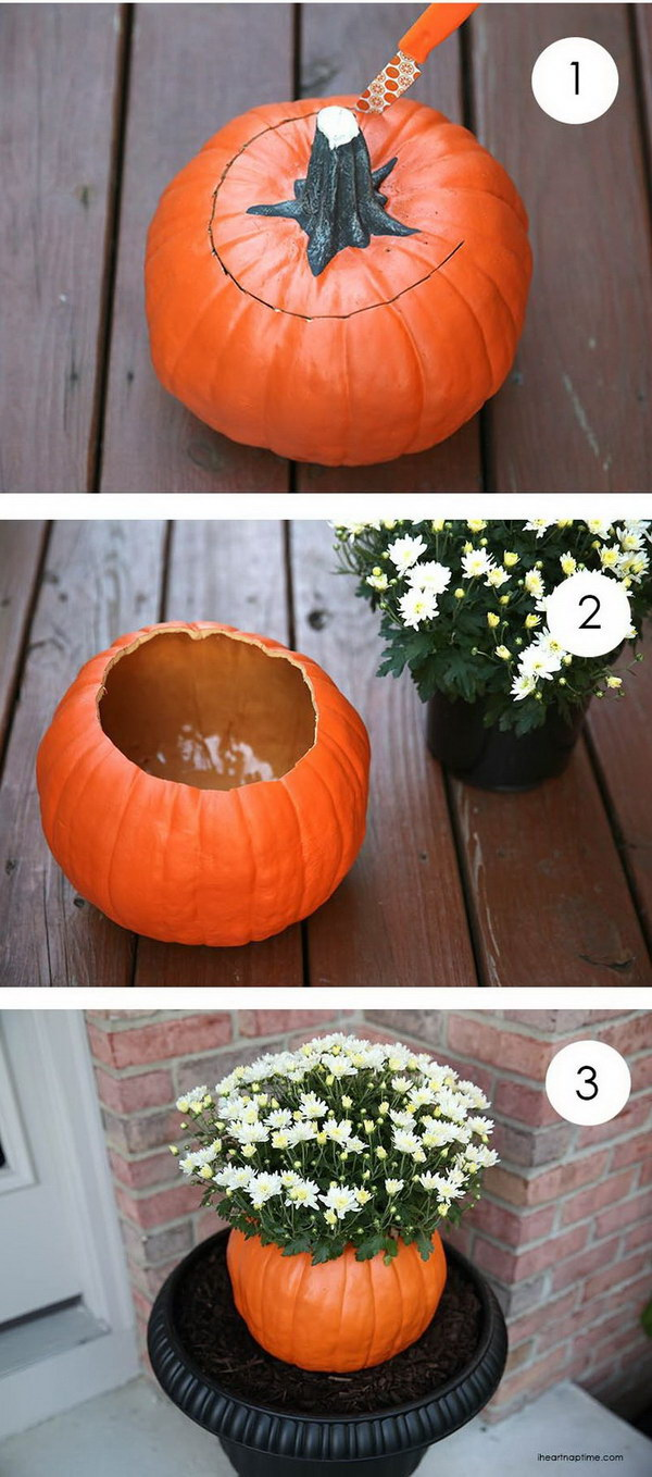 DIY Pumpkin Flower Pot.