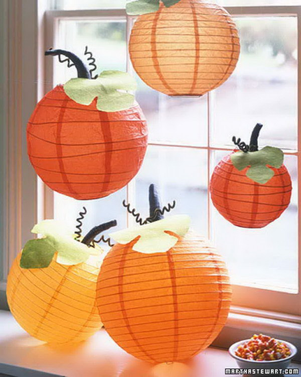 Homemade Paper Pumpkin Lanterns.