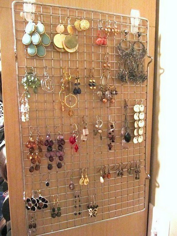 Hang earrings Organizing with a Cooking Rack.