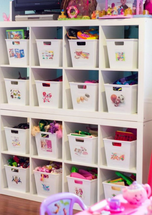 Dollar Store Bins for Kids' Room Storage.